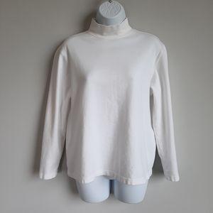 2/$15 C&B White Mockneck Long Sleeve Shirt - Med